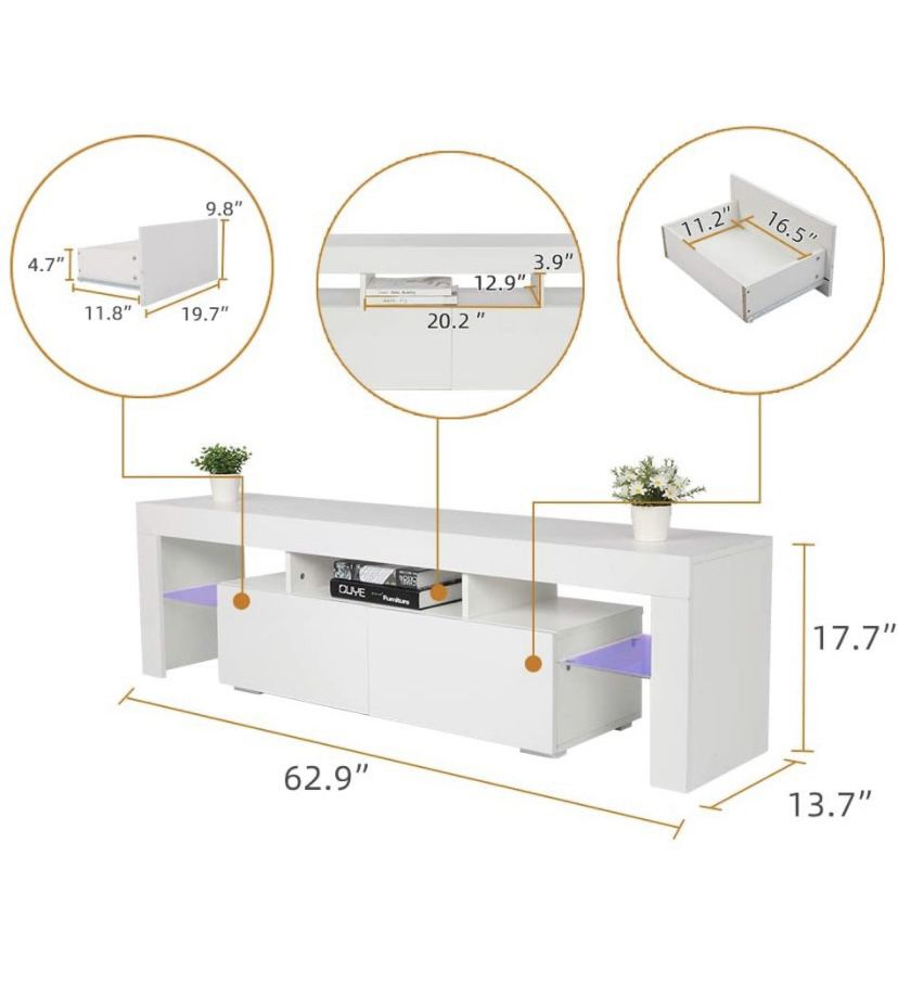 """New 63"""" White TV Stand With LED light - Entertainment Center - TV Cabinet with Storage"""
