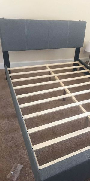 Brand New Full Size Grey Linen Upholstered Platform Bed for Sale in Silver Spring, MD