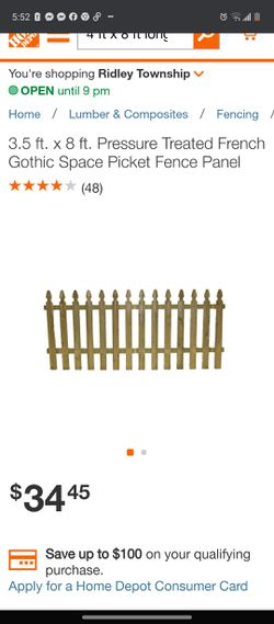 New Pressure treated 4x8 picket fence Thumbnail
