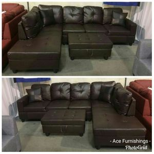Brand New Brown Leather Sectional With Storage Ottoman & Tax Free for Sale in Federal Way, WA