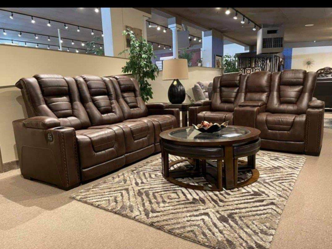 ⭐ Owners Box Thyme Power Reclining Living Room Set Sofa Loveseat.  Delivery Available