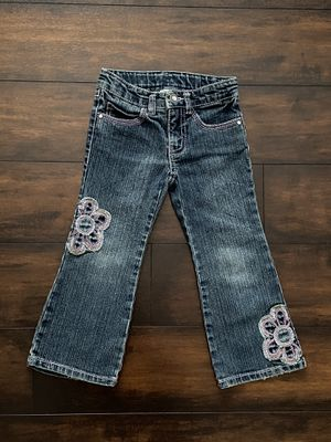 Photo Baby girl clothes denim jeans with flower patches size 3T