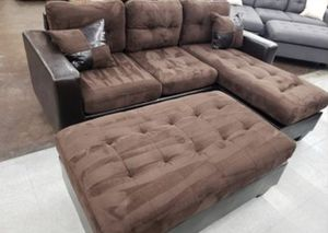 Brand New Chocolate Microfiber Sectional Sofa Couch + Ottoman for Sale in Silver Spring, MD