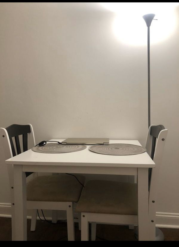 for 120 dining table and chair for two in white color