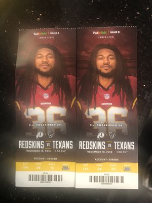 2 Redskins vs Texans tickets 11/18 for Sale in UNIVERSITY PA, MD