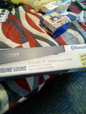 Photo Brand New used Fisher sound bar with remote and Bluetooth must go goes to a 37 inch TV and a 40 inch TV 60 watts asking 30