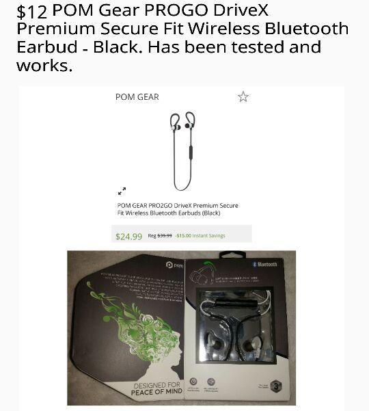 127de127038 POM Gear PROGO DriveX Premium Secure Fit Wireless Bluetooth Earbud for Sale  in Killeen, TX - OfferUp