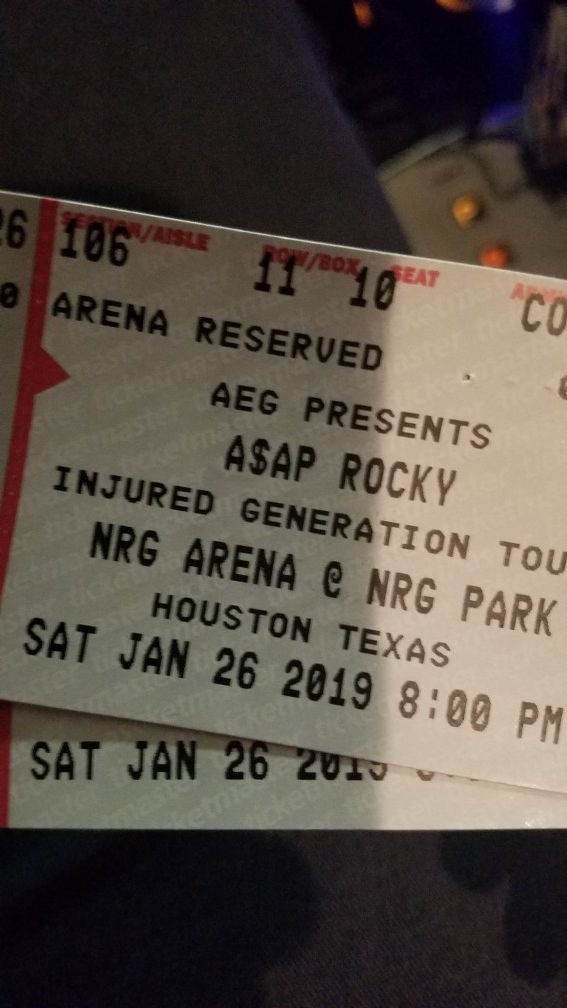 Asap Rocky Tickets For Sale In Tomball Tx Offerup