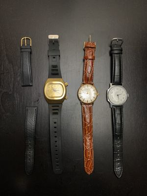 Photo Three Vintage Watch Lot - Seiko Champion, Pobeda & Cordura Alarm Incabloc