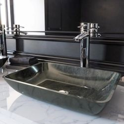 """2 -gray glass vessel sinks ( 13""""x 17"""") faucet included Thumbnail"""