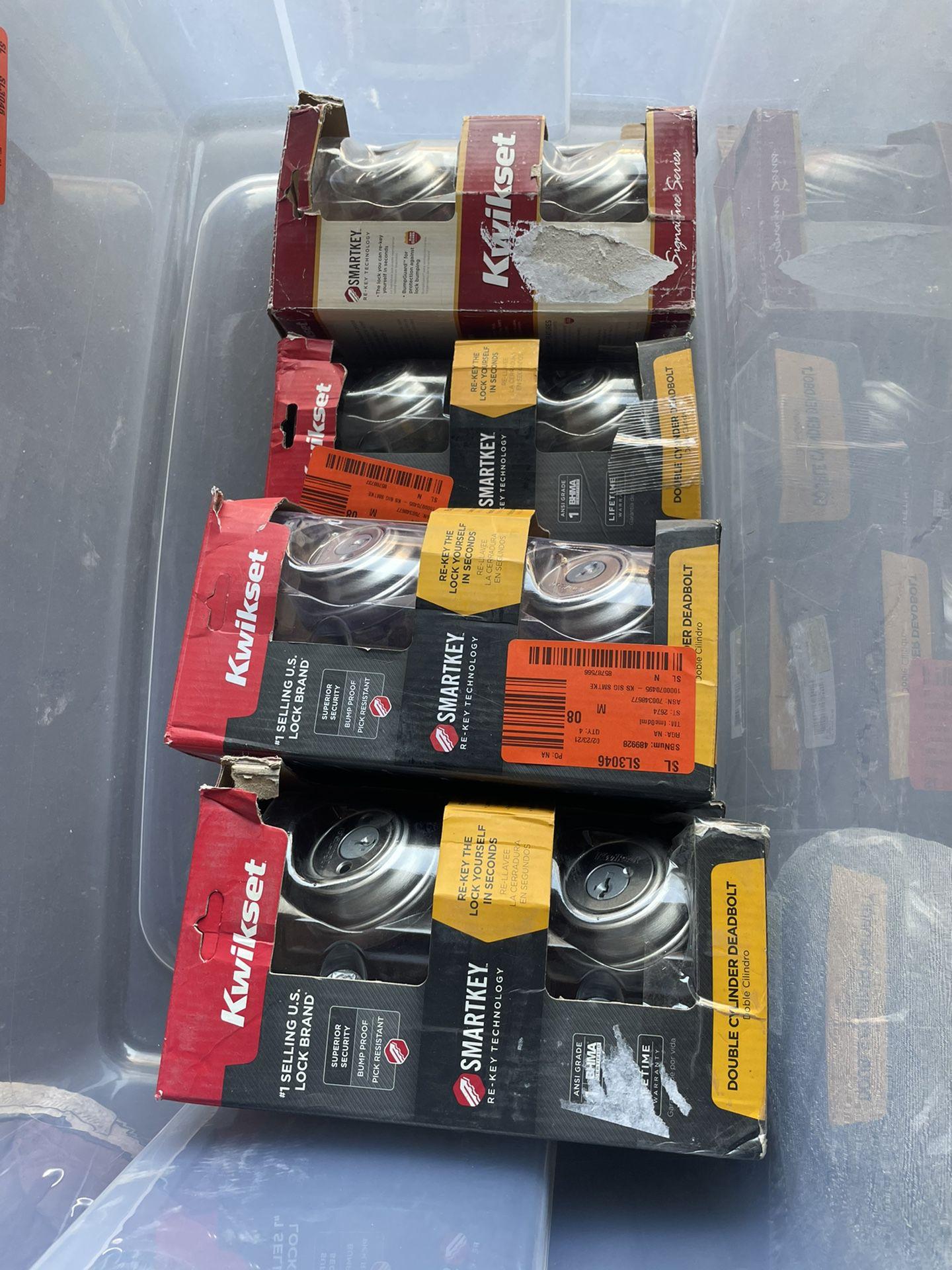 Kwikset 985 Series Satin Nickel Double Cylinder Deadbolt Featuring SmartKey Security