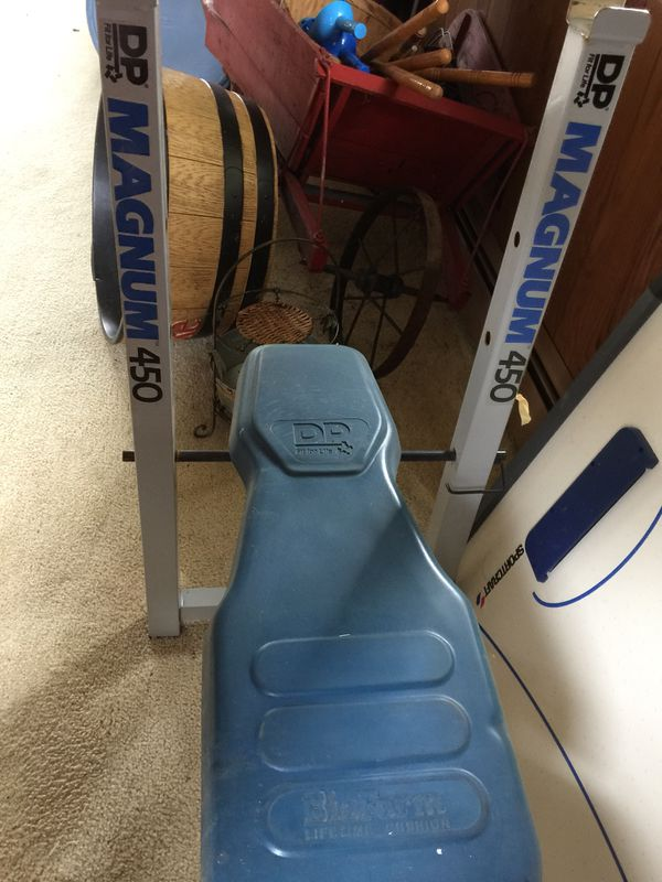 Magnum 450 Weight Bench Other Brand Weight Set And Curl Bar Take