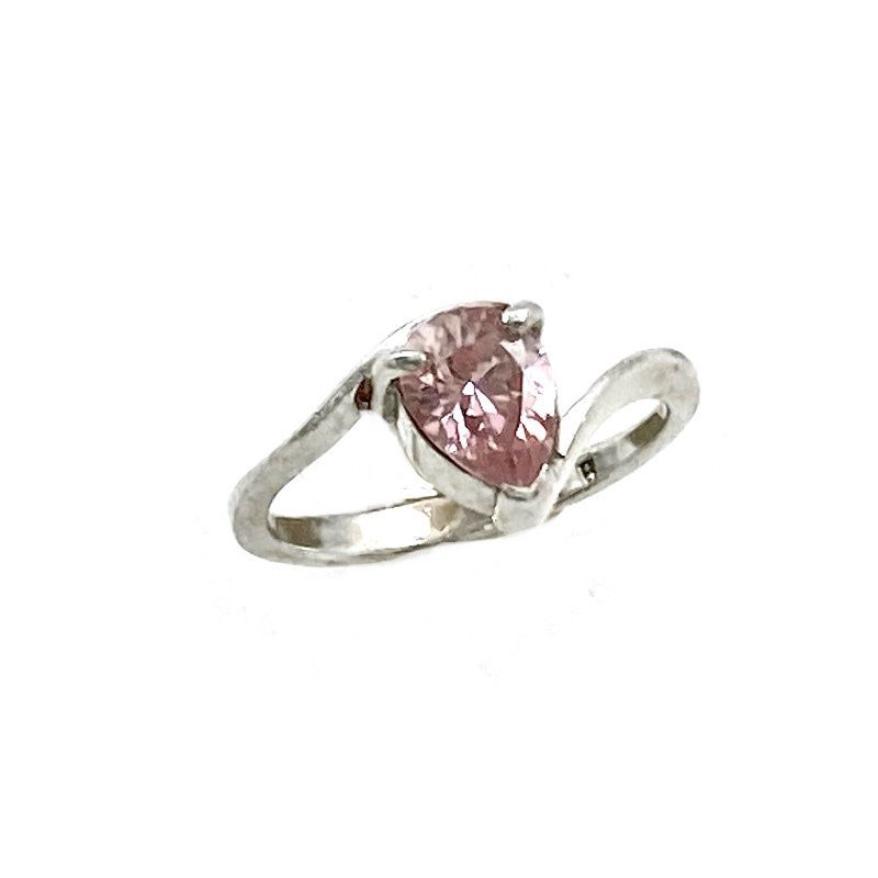 Vintage 925 Sterling Pear Cut Pink Cubic Zirconia Solitaire Minimalist Bypass Ring Signed, Engagement Prom