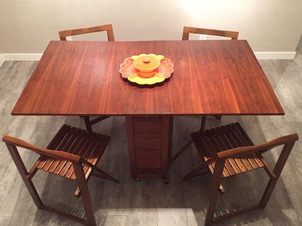 Phenomenal Mid Century Danish Modern Drop Leaf Gate Leg Table W 4 Machost Co Dining Chair Design Ideas Machostcouk