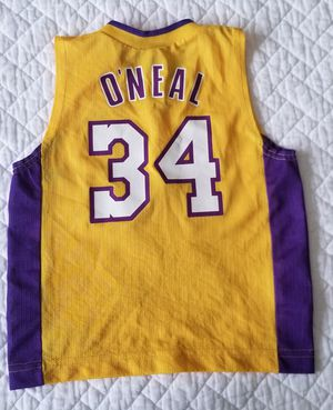 dd0ee680531 VINTAGE NIKE LOS ANGELES LAKERS SHAQ SHAQUILLE O'NEAL #34 JERSEY KIDS SIZE 4