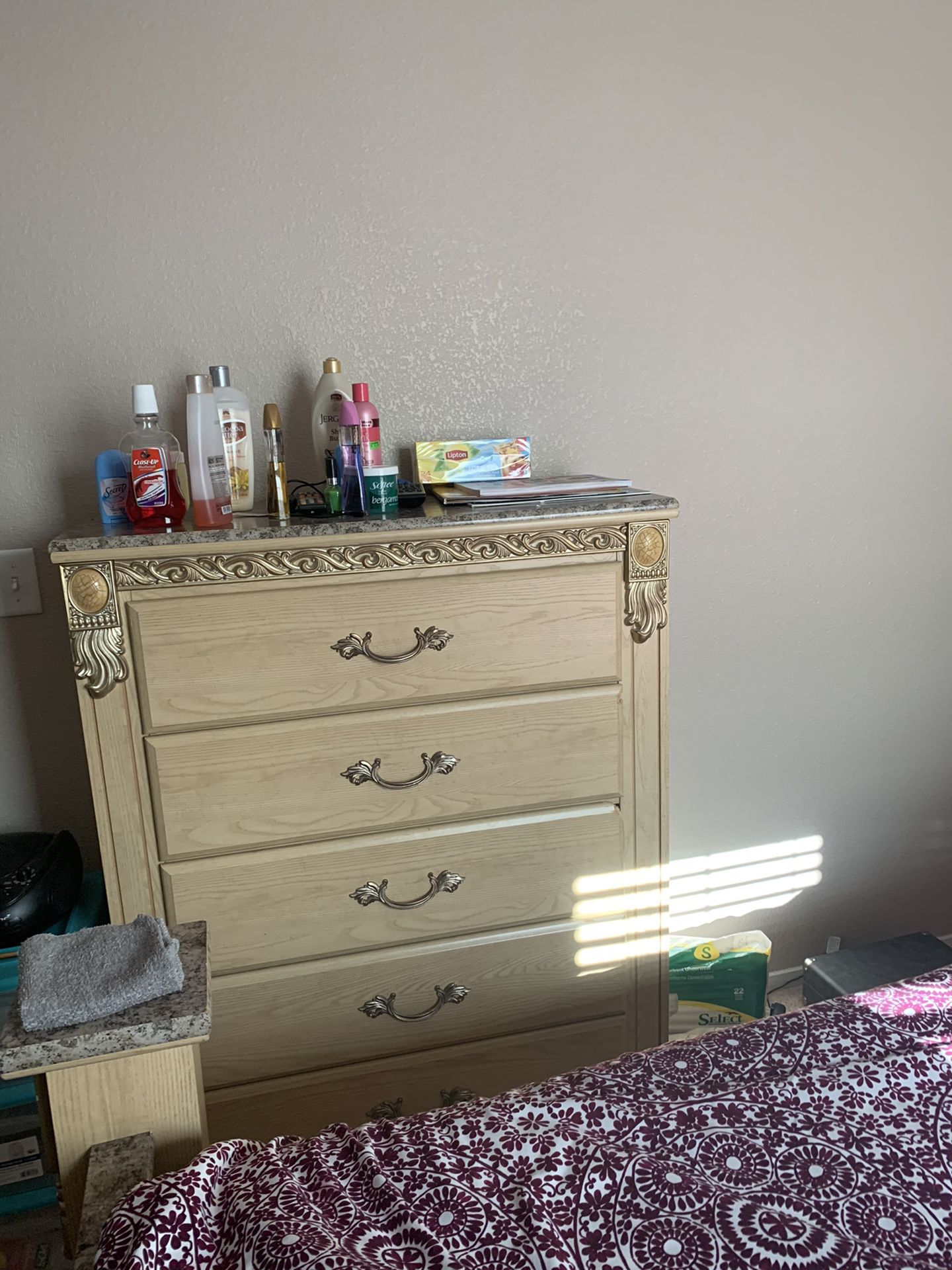 Beige queen size bedroom set with dresser and mirror chest and 1 night stand