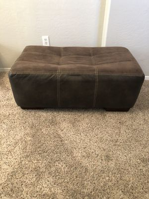 Photo Large brown ottoman two toned suede and leather