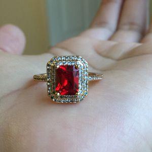 18k gold plated stamped garnet ring for Sale in Spencerville, MD