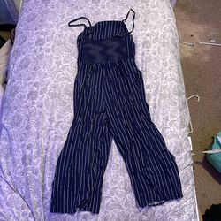 Navy Blue And White Striped Old Navy Romper Thumbnail
