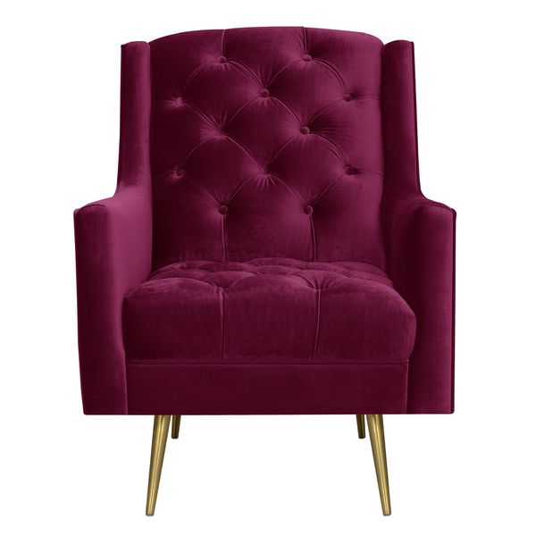 New Crimson Velvet Accent Chair With Gold Legs For Sale