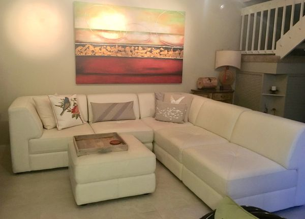 Excellent Chateau Dax Italian White Leather Sectional Couch For Sale Caraccident5 Cool Chair Designs And Ideas Caraccident5Info