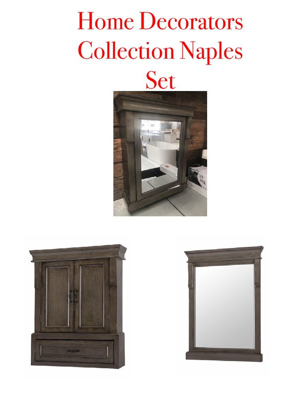 Set Of 3 Home Decorators Collection Naples Cabinetirrors In Distressed Grey