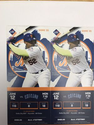 2 FACE VALUE Hyundai Club Mets/Cubs tickets for tonight for Sale in New York, NY