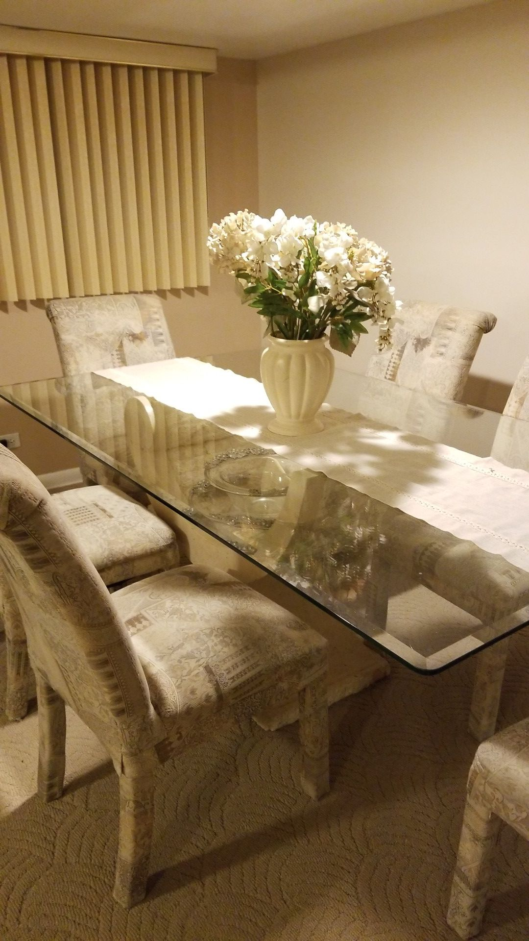 Three piece living set, coffee table, dining room and sofa table