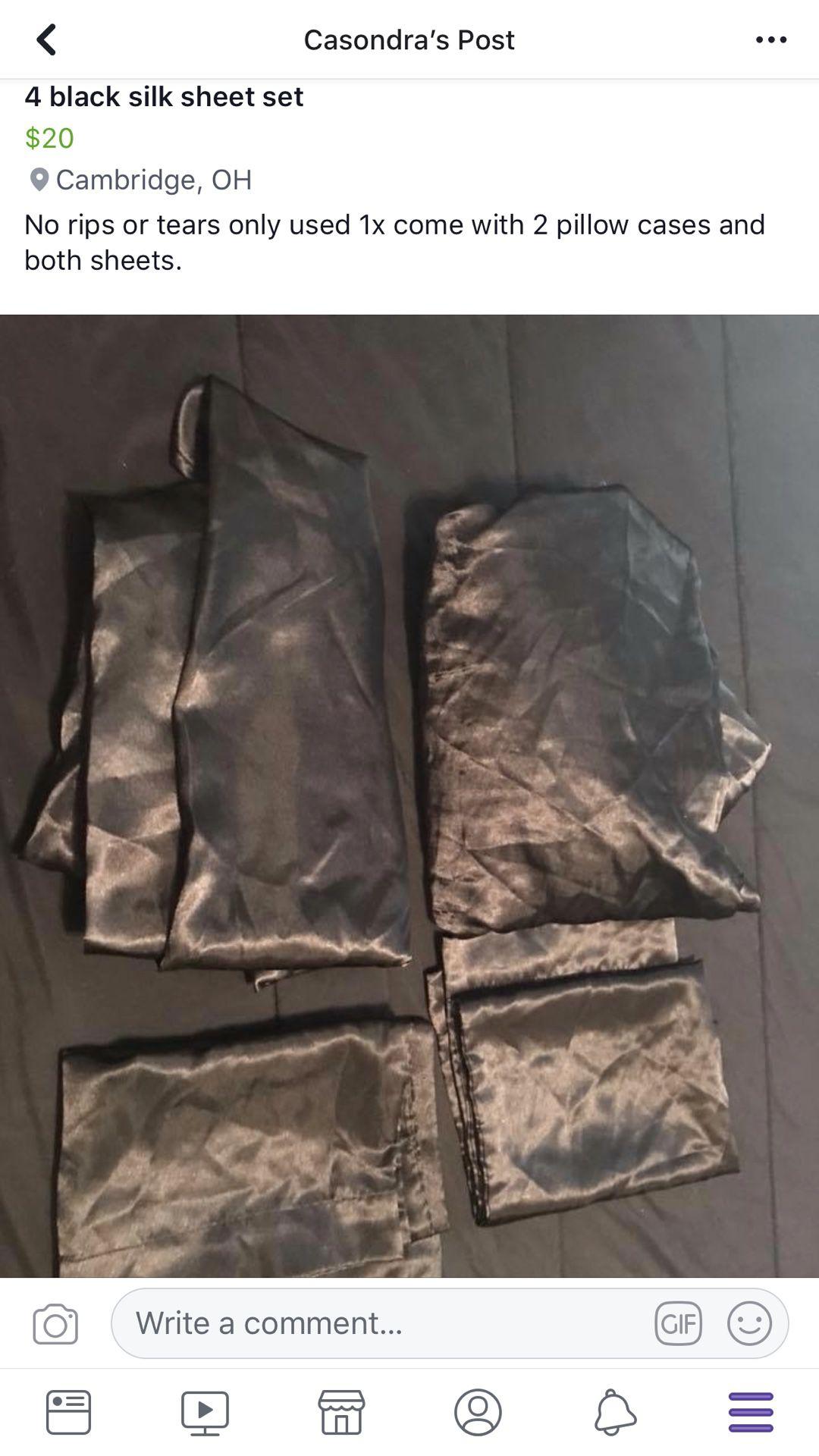 4 piece Silk black sheet set