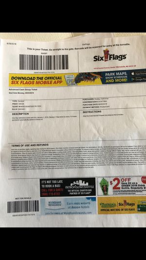 5 individual six flag tickets for Sale in Silver Spring, MD