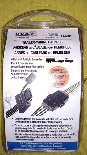 Trailer Wiring Harness 4 flat with taillight converter for Sale in Austin, TX