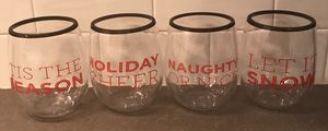 holiday plastic stemless wine glasses for Sale in Annandale, VA