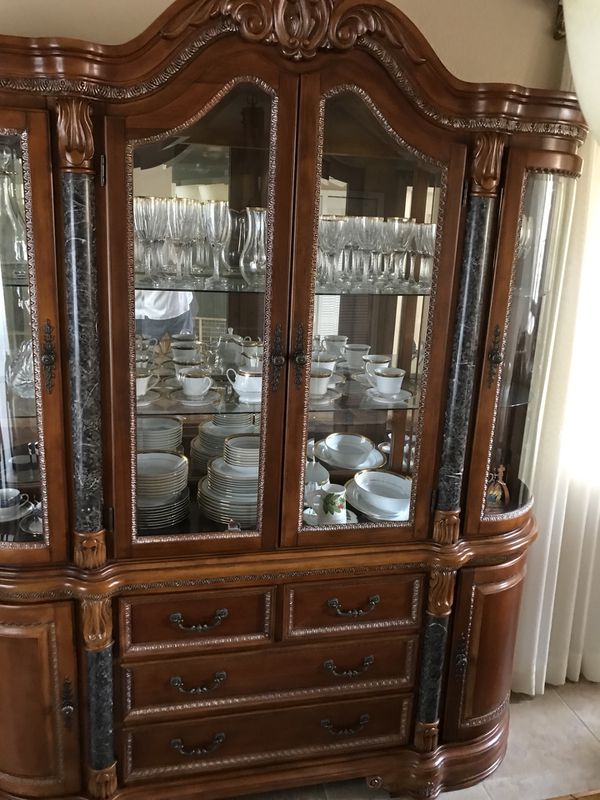 Wooden Fine China Cabinet With Marble Details