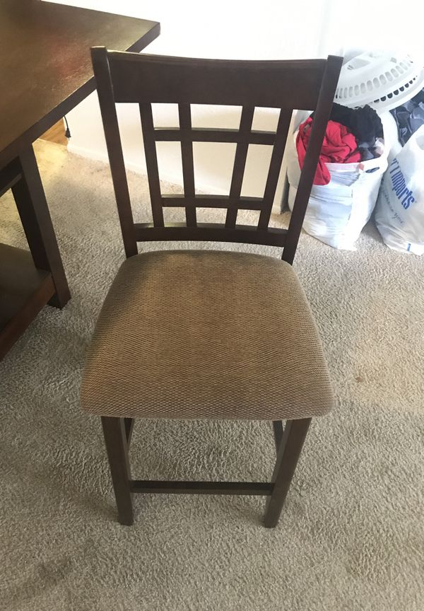 Square Dark Wood High Table W Four Chairs For In Marietta Ga Offerup