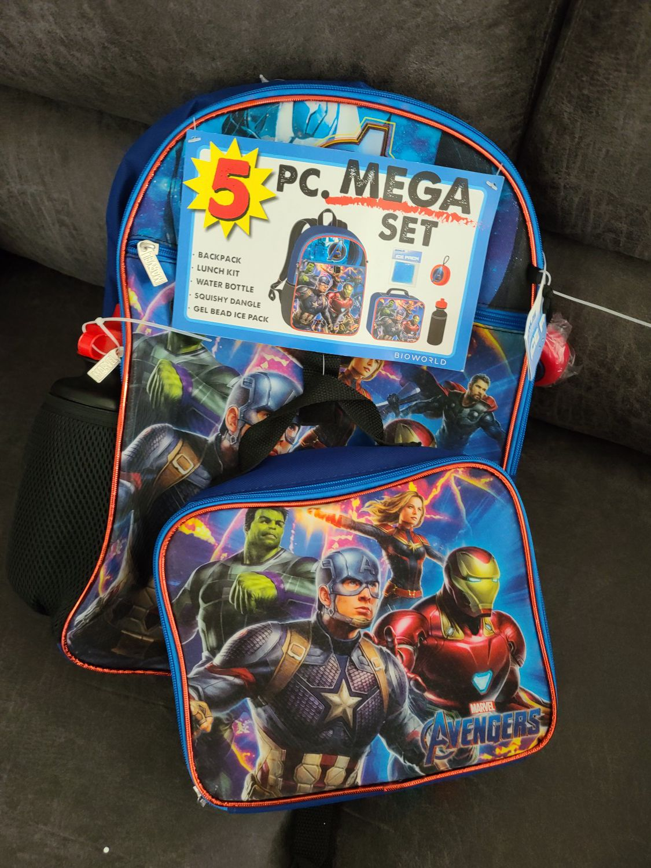 Avengers 5 piece Backpack Set