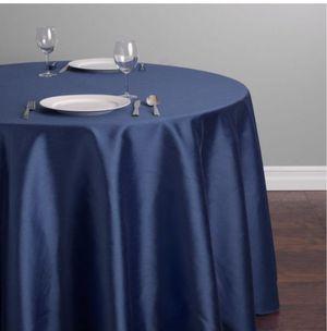 "Navy blue shantung silk 132"" round tablecloth! for sale  Tulsa, OK"