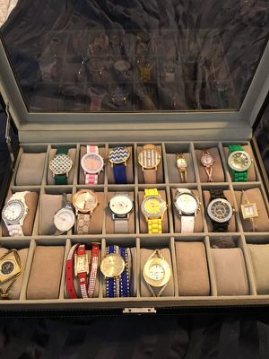 New Woman's watches and leather lockable display case for Sale in Apex, NC