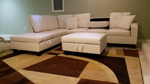 White Leather Sectional *BRAND NEW* for Sale in Silver Spring, MD