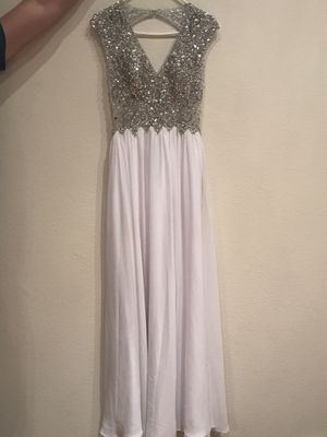 White Backless Dress with Platinum Crystals Size S for Sale in Houston, TX
