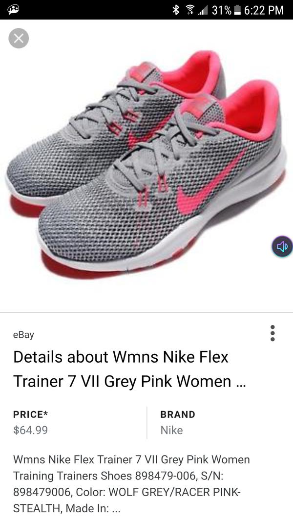 de4a87b3a460 SIZE 10 Wmns Nike Flex Trainer 7 VII Grey Pink Women Training Trainers Shoes