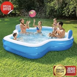 Members Mark Elegant Family Pool 10 Feet Long 2 Inflatable Seats with Backrests Thumbnail