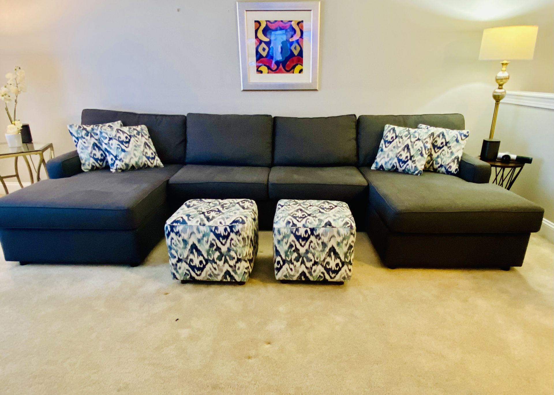 Sectional With Ottomans