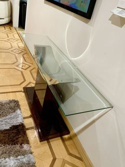 🐝 Mid Century MOdern Brown glassTop COnsole CredenZA SIde TABLE Thumbnail