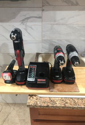 Photo Craftsman 8 combo drill driver set 3 batteries 2 speed driver fast drill 90 devree dual speed driver 1 led light and 3 lithium ion batteries with fas
