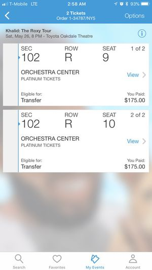 2x Khalid Concer Tickets for Sale in Boston, MA