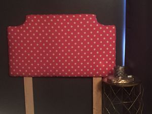 Little girls upholstered headboard matching pillows and lamp shade for Sale in Douglasville, GA