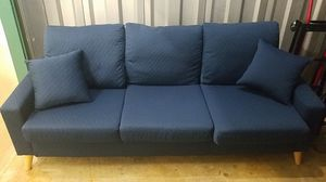 Blue Three Seater Small Apt Size Couch for Sale in Alexandria, VA