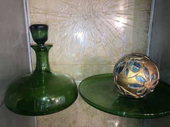 Dark Green Glass Kitchen Set Thumbnail