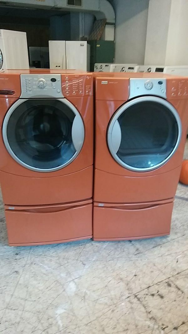 Orange Kenmore Elite Frontload Washer And Dryer Set On