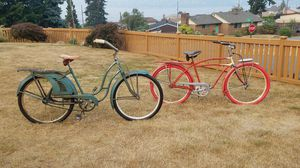Two Prewar Balloon tire cruisers his & hers J.C. Higgins & Hawthorne for Sale in Seattle, WA